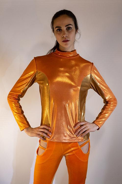 Metallic Orange Turtleneck