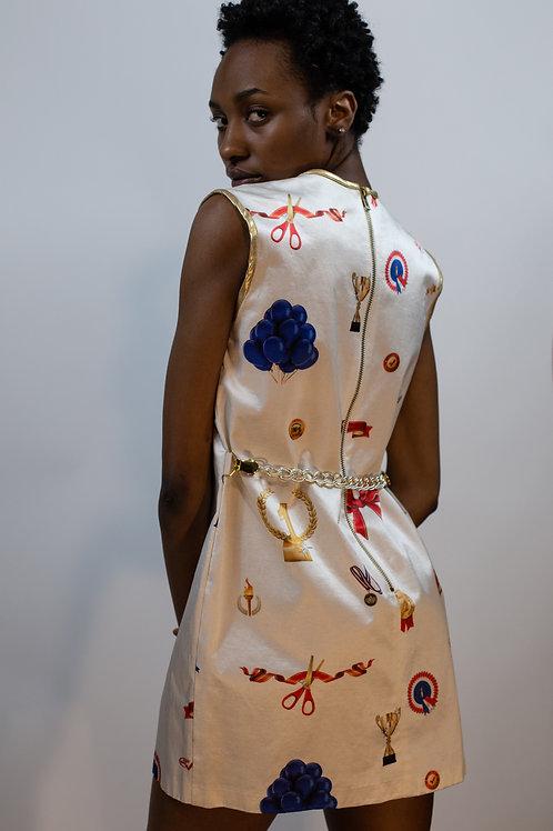 Award Print Mini Dress