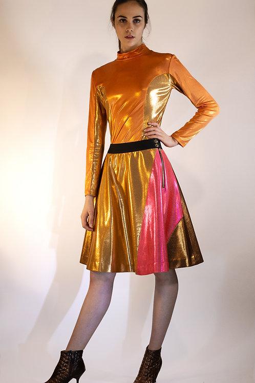 Neon Metallic Pleated Lyrca Skirt