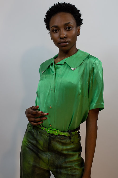 Silk Apple Green Blouse