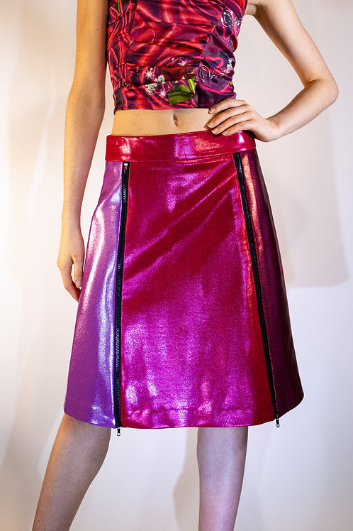 Berry Color Blocked A-line Metallic Zip Skirt