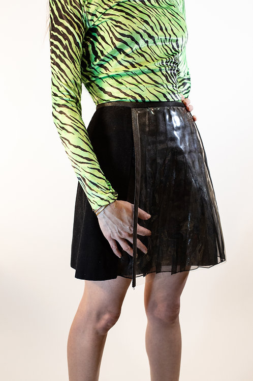 Canvas & PVC Pleated Mini Skirt