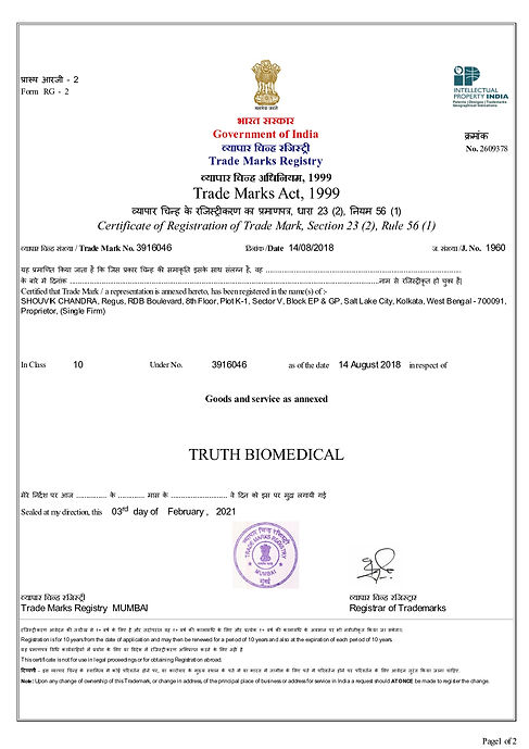 TRADEMARK CERTIFICATE OF TRUTH BIOMEDICAL_page-0001.jpg