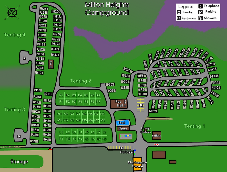 Milton Heights Campground site map