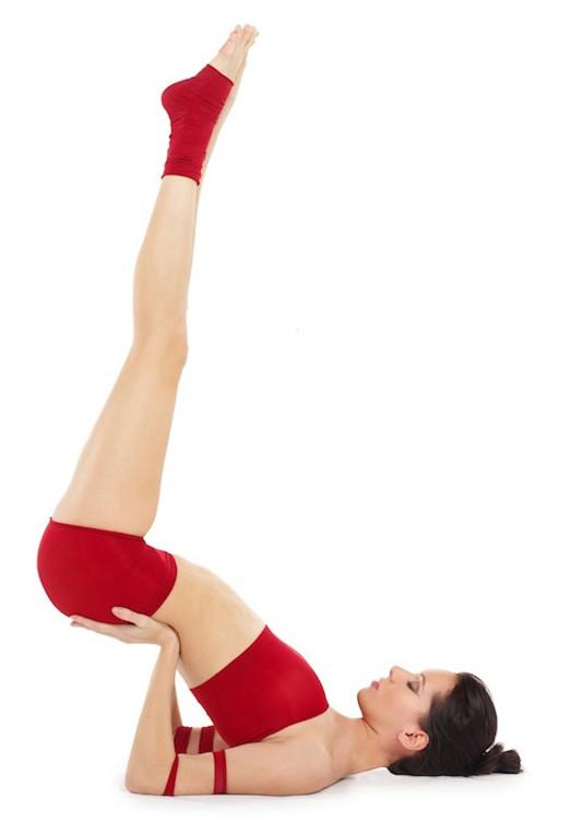 woman doing the Viparitkarani yoga pose