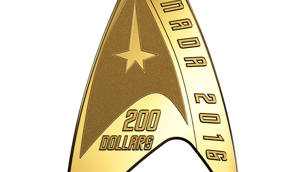 2016 CANADA 50th Anniv of STAR TREK StarFleet Delta Insignia $200 Pure Gold Coin