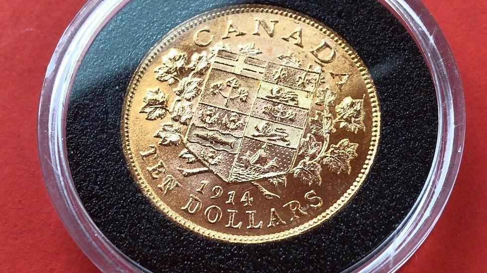 1914 Canada Gold Reserve a $ 10 Dollar Premium Wood Box - Bank of Canada Release