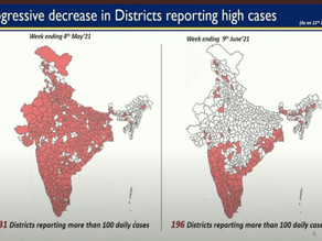 Government shares comparative maps showing a decrease in the number of districts COVID-19 Cases