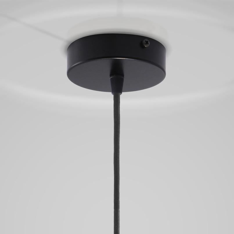 copo de tecto preto lacado+fio tecido preto