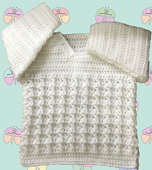 Round Neck Sweater Crochet Pattern for Baby in DK (Birth-6 years) (1027)