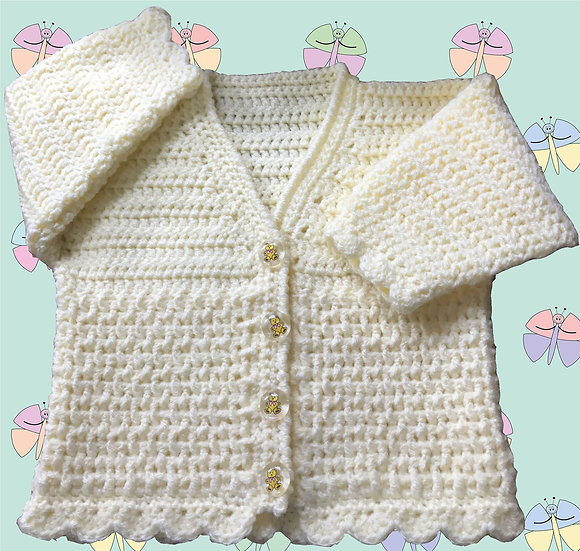 Baby Crochet Pattern for Cardigan DK (Sizes Birth-6 years) (1016)