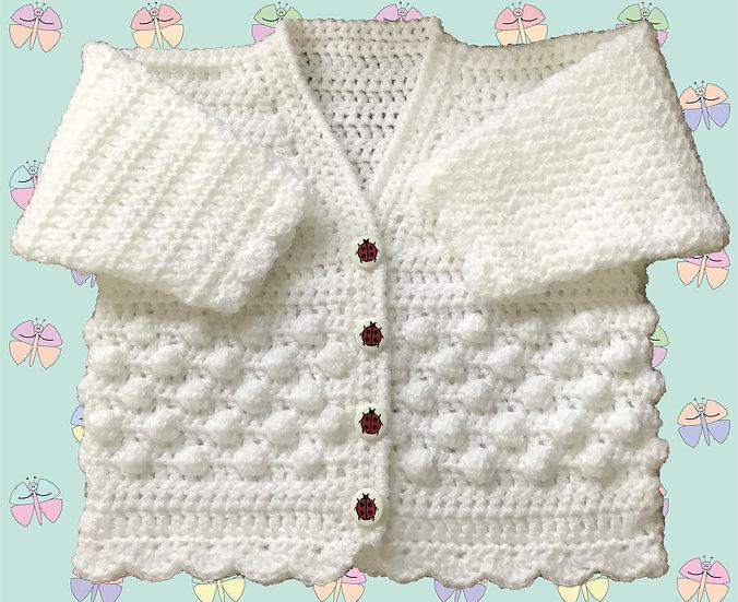 Easy Bobble Panel Baby Crochet Cardigan Pattern in DK (Birth-6 years) (1002)