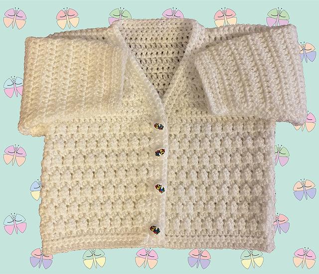 Simple DK Baby Crochet Cardigan Pattern for Boy or Girl (Birth-6 years) (1058)