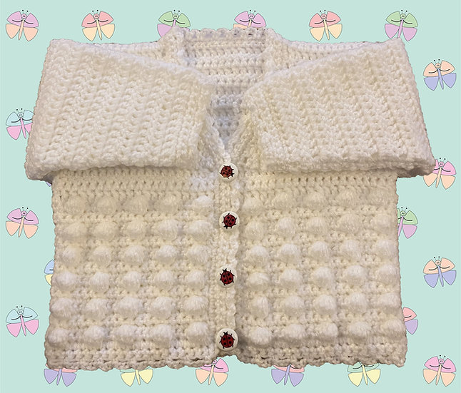 Spot Bobble Panel Baby Crochet Cardigan Pattern in DK (Birth-6 years) (1047)