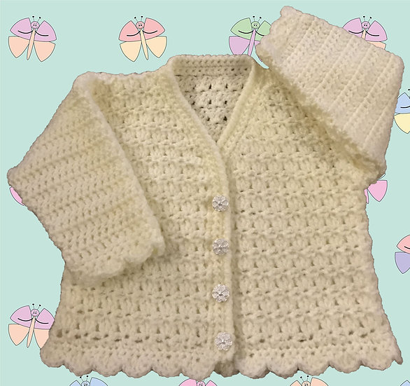 Lovely Crochet Cardigan Pattern for Baby in DK (Sizes Birth-6 years) (1010)