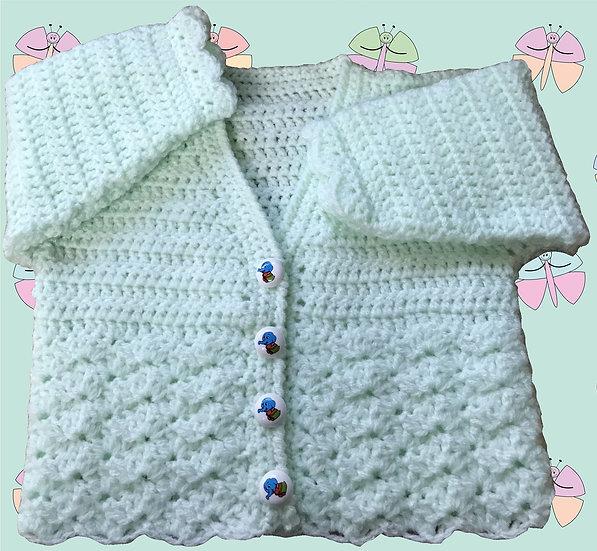 Beautiful Baby Crochet Pattern for Cardigan in DK (Birth-6 years) (1019)