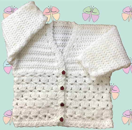 Crochet Cardigan Pattern for Baby in DK (Sizes Birth-6 years) (1035)
