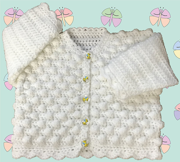 Baby Crochet Pattern for Round Neck Cardigan DK (Sizes Birth-6 years) (1034)