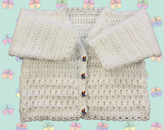 Baby Crochet Cardigan Pattern With Cluster Panel DK (Birth - 6 years) (1044)