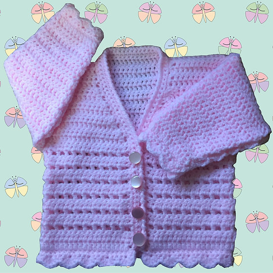 Attractive Baby Crochet Cardigan Pattern in DK (Birth - 6 years) (1003)