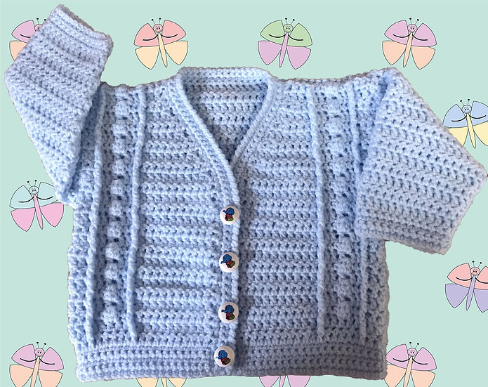 Easy Baby Crochet Cardigan Pattern Bobble Panel DK (Birth-6 years) (1012)