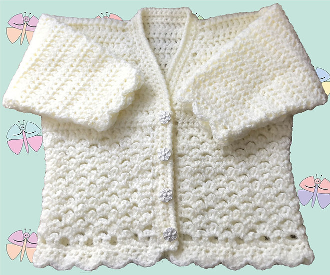 Crochet Pattern for Babies Cardigan in DK (Sizes Birth-6 years) (1017)