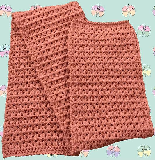 Patterned Crochet Scarf in Aran Yarn. (1021)