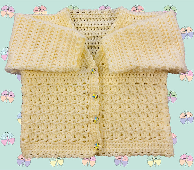 Baby Crochet Cardigan Pattern With Patterned Panel DK (Birth - 6 years) 1045