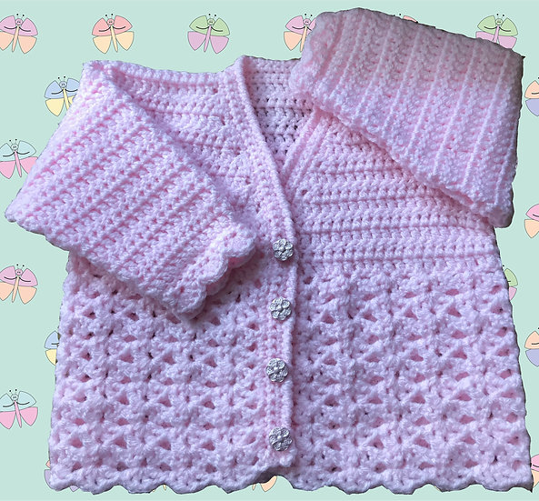 Pretty Baby Crochet Cardigan Pattern in DK (Sizes Birth-6 years) (1014)