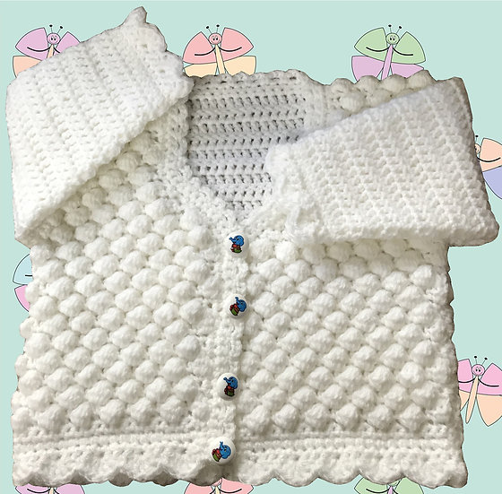 Baby Crochet Pattern for Honeycomb Cardigan DK (Sizes Birth-6 years) (1030)