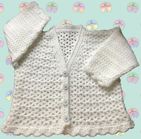 Baby Crochet Pattern for All Over Patterned Cardigan  (Birth-6 years) (1013)