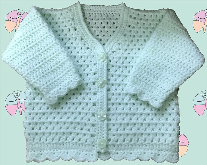 All Over Pattern Crochet Cardigan for Baby in DK (3 Months - 6 years) (1008)
