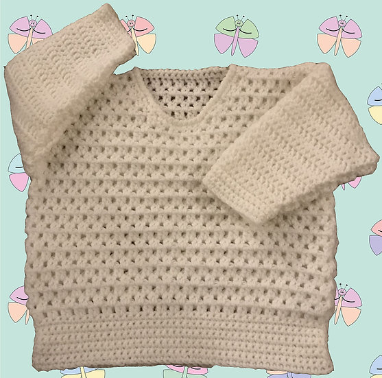 Baby Crochet Pattern for a Sweater in DK (Sizes 3-6 months - 6 years) (1022)