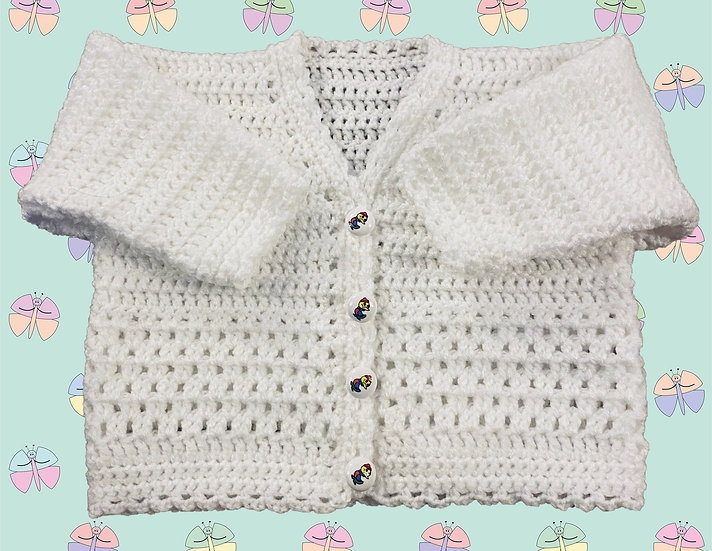 Easy Baby Crochet Cardigan Pattern in DK (Sizes: 3 Months - 6 years) (1043)