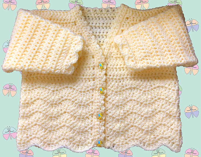 Baby Crochet Chevron Cardigan Pattern DK (Sizes Birth-6 years) (1041)