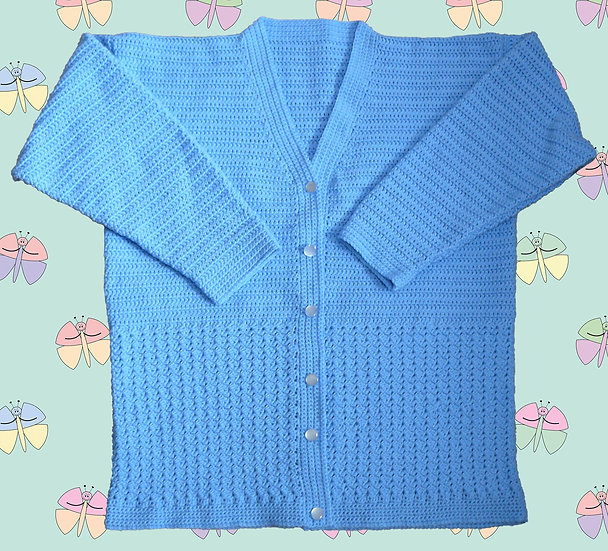 Lady's Crochet Cardigan Pattern With Patterned Panel (Sizes 81cm-112cm) (1061)