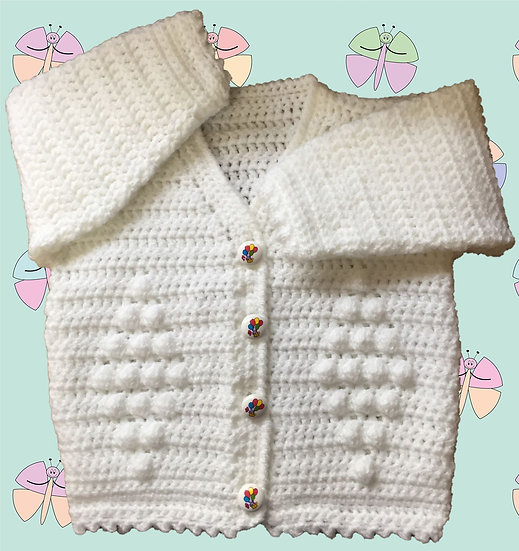 Easy Baby Crochet Pattern for Cardigan in DK (3 Months - 6 Years) (1004)