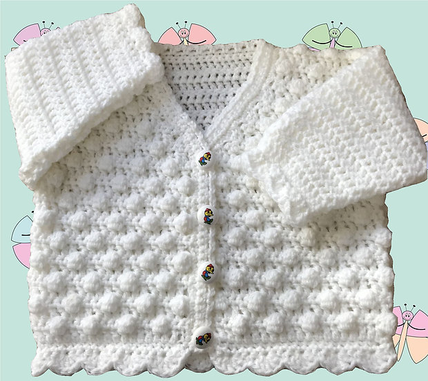 Baby Crochet Pattern for Bobble Cardigan in DK (Sizes Birth-6 years) (1029)