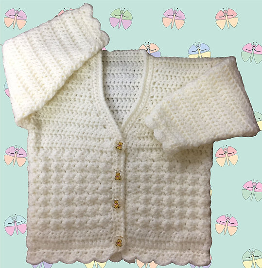 Baby Crochet Pattern DK for Patterned Cardigan (3 Months - 6 years) (1005)