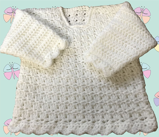 Lovely Baby Crochet Sweater Pattern in DK (Sizes Birth-6 years) (1026)