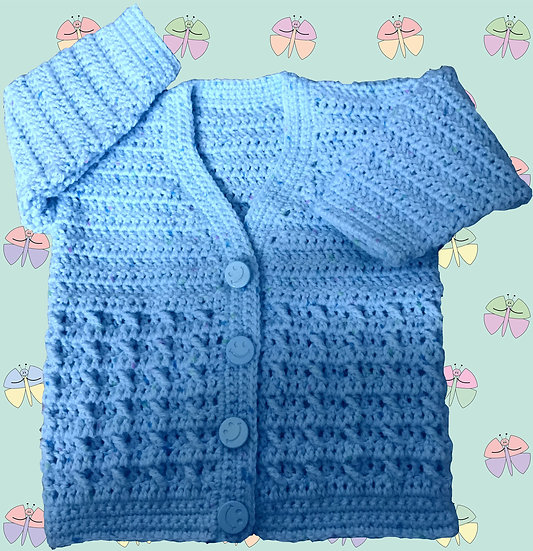 Cable Panel Baby Crochet Pattern for Cardigan DK (Birth - 6years) (1007)