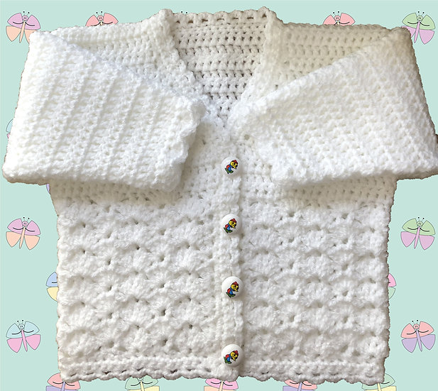 Crochet Cardigan Pattern for Baby in DK (Sizes Birth-6 years) (1042)