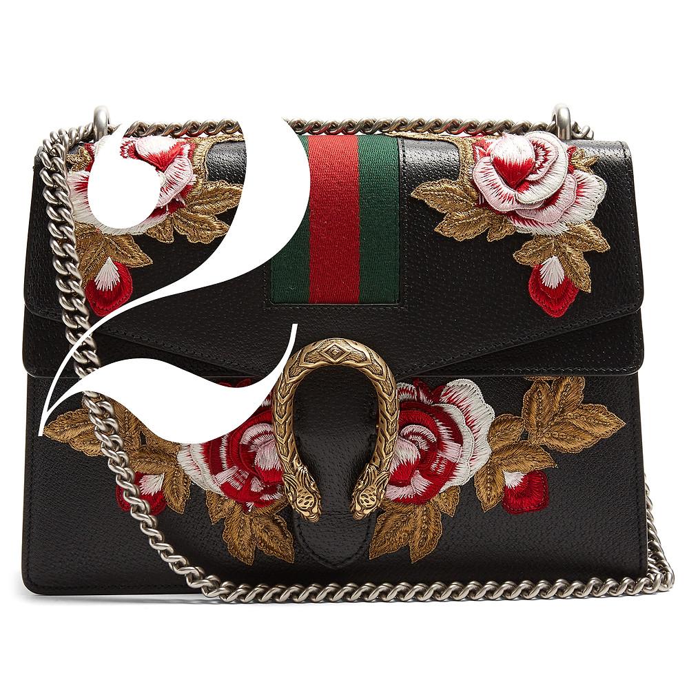GUCCI  Dionysus Floral-Embroidered Leather Shoulder Bag