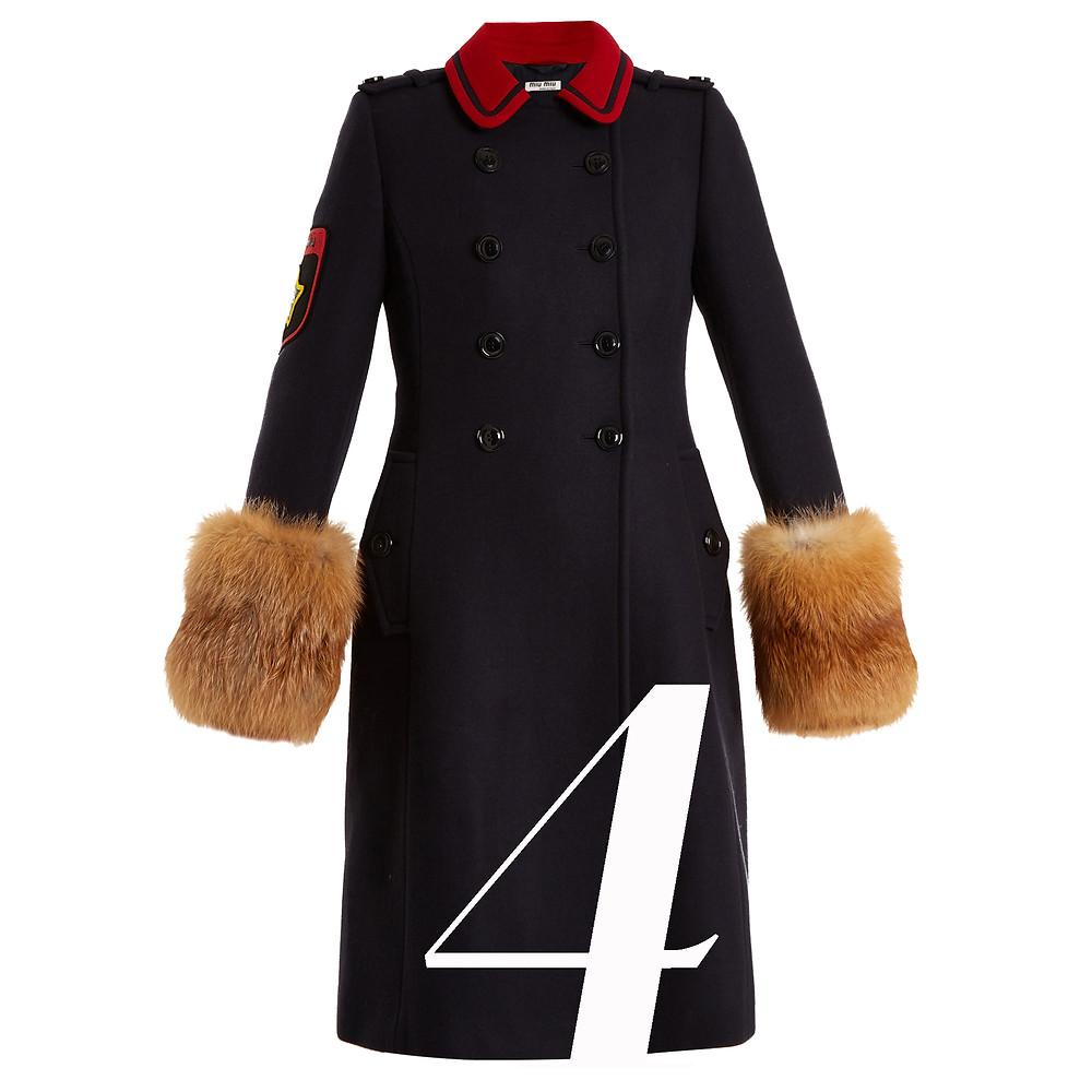 MIU MIU  Fur-Trimmed Double-Breasted Wool Coat