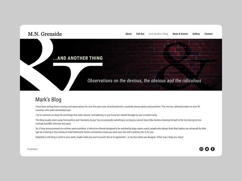 Author website blog banner