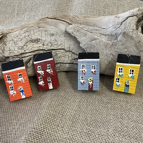 #102 Jelly Bean Row House wooden Ornaments