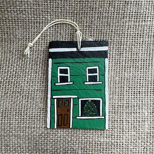 #63 Jelly Bean Row House Christmas Ornament