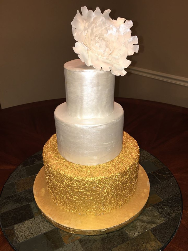 Gold Sequins Wedding Cake