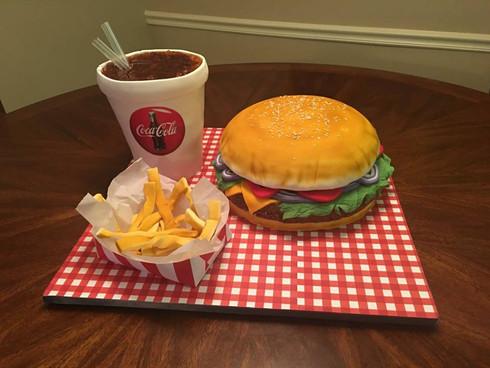 Sculpted Burger & Fries Cake