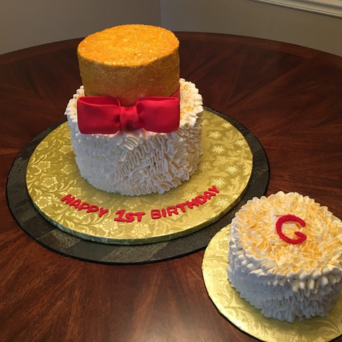 Gold & Red 1st Birthday Cake (with Smash Cake)